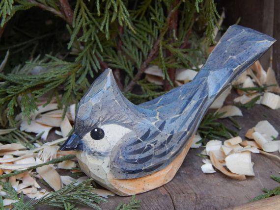 Uccello Davanzale Intagliato A Mano Titmouse Pajaros