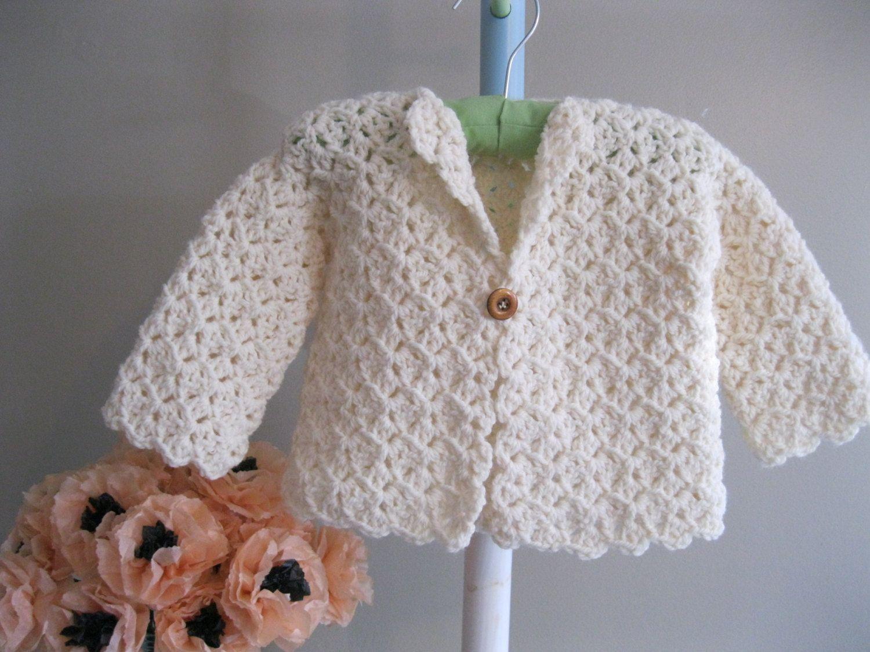 Crocheted Baby Sweater Winter White Jacket Crochet