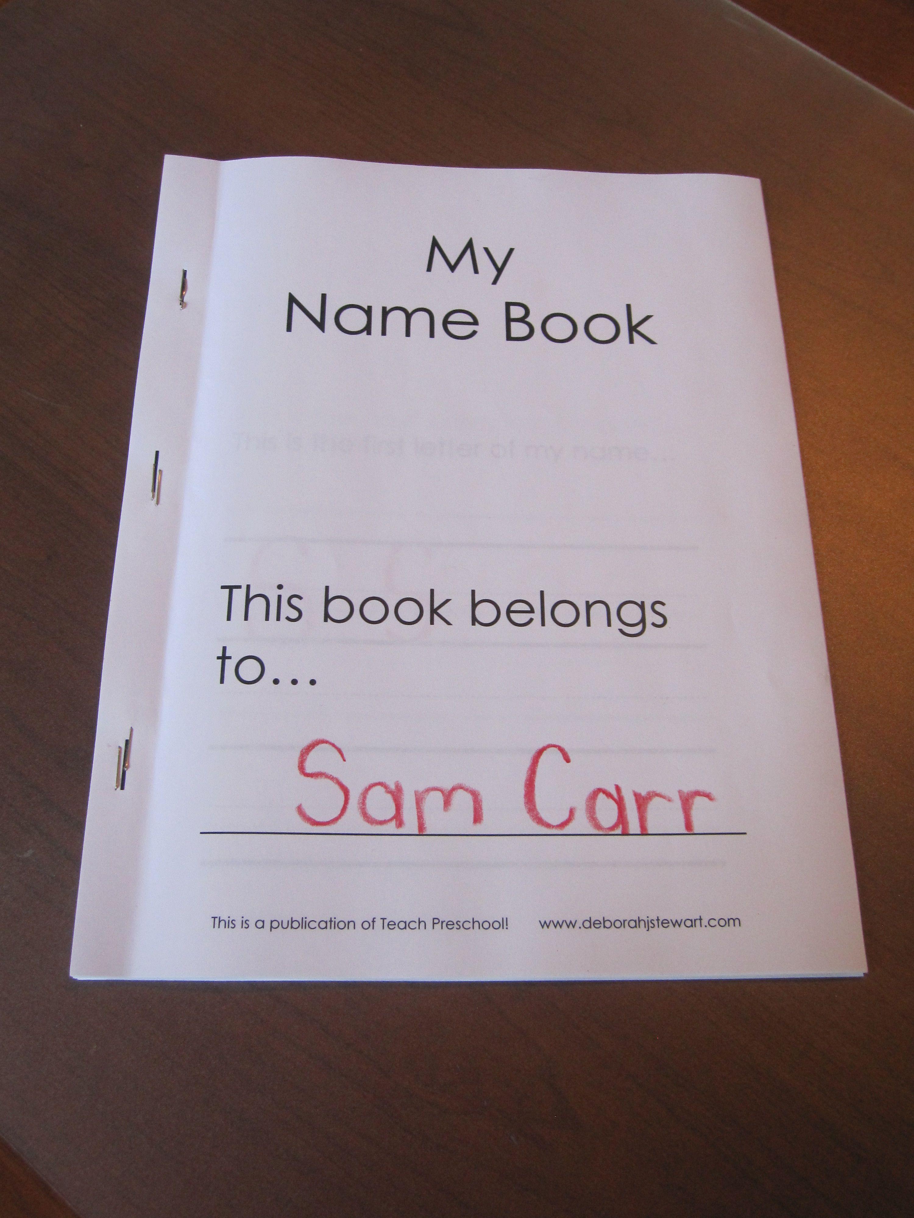 My Name Book A Preschool Printable