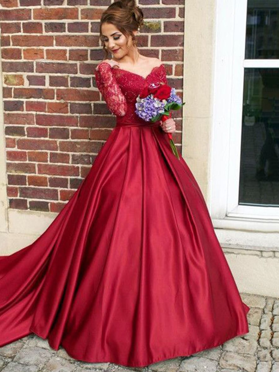 c5adc0bb3a6 Attractive Appliques A-Line Lace Off-the-Shoulder Court Train Long Sleeves  Evening Dress