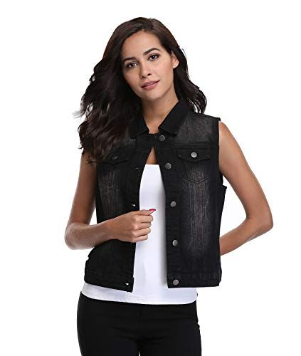 a7c3985646ea60 SALE PRICE -  15.49 - MISS MOLY Women Denim Vest Sleeveless Jean Vest with  Chest Pockets 💖Fabric:100% Cotton.Cotton fabric is soft and comfortable  which ...