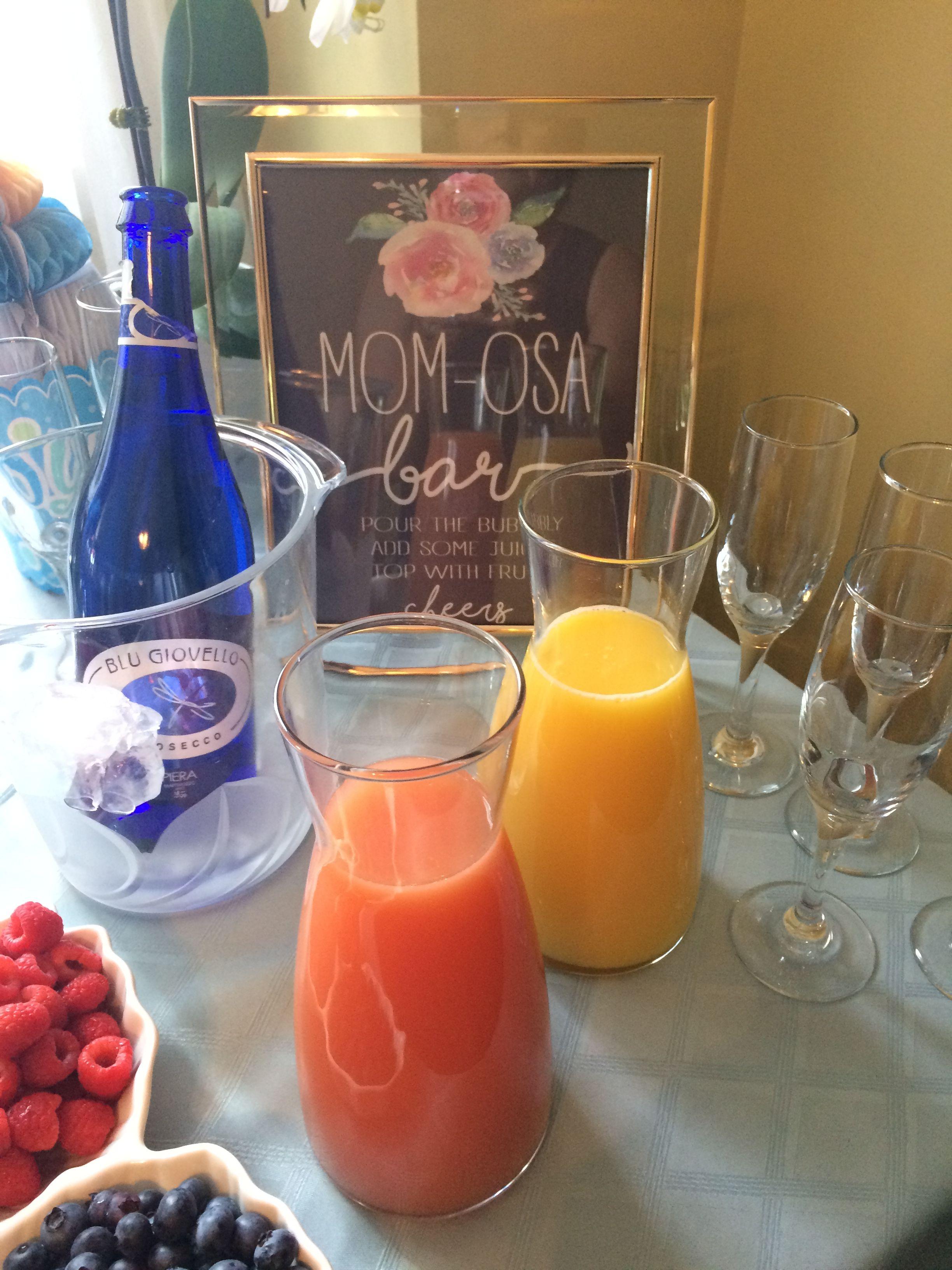 Mom-osa Bar. Baby Shower idea! | Alcoholic drinks, Baby ...