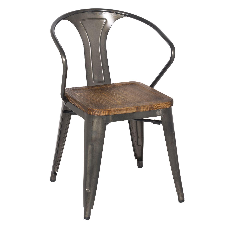 chaise en acier bross dans sa structure sige et accoudoirs en bois de htre naturel - Chaise Acier