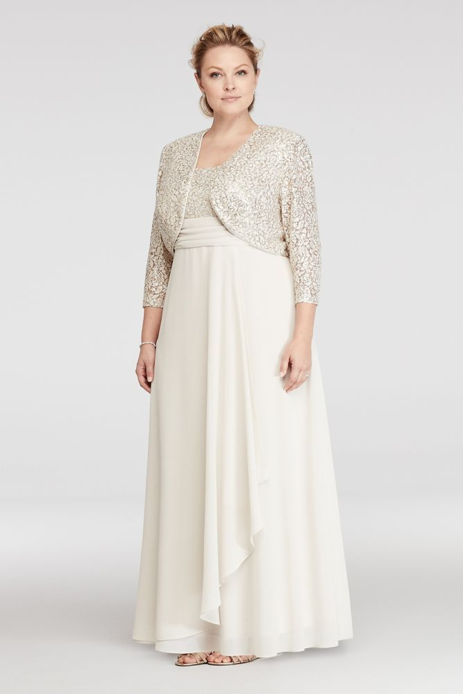 9fde89a846 Plus Size Chiffon Mother of Bride Groom Dress with Sequin Lace Jacket and  Bodice - Champagne (Yellow)