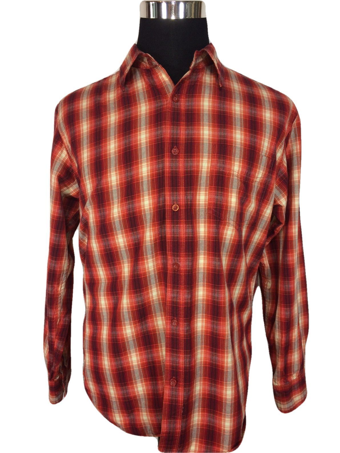 Purple flannel men  Urban Pipeline UP Mens Large Casual Shirt Fiery Red Gray Plaid Long