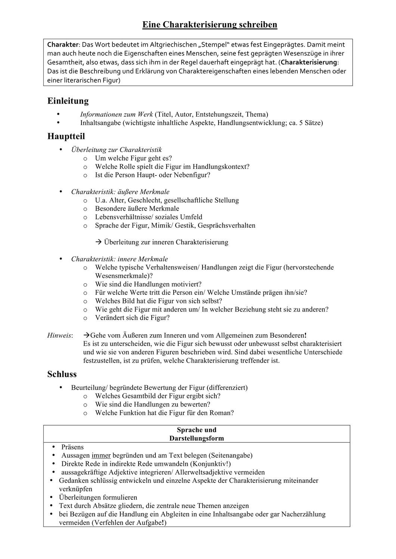 Charakterisierung Moritz Stiefel Unterrichtsmaterial 5