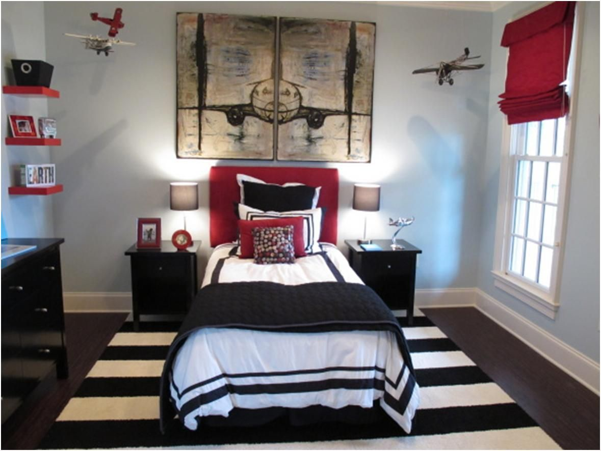 cool blue and red bedroom my room pinterest