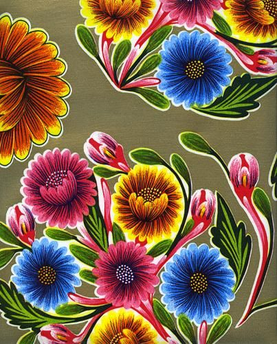 Floral Mexican oilcloth pattern