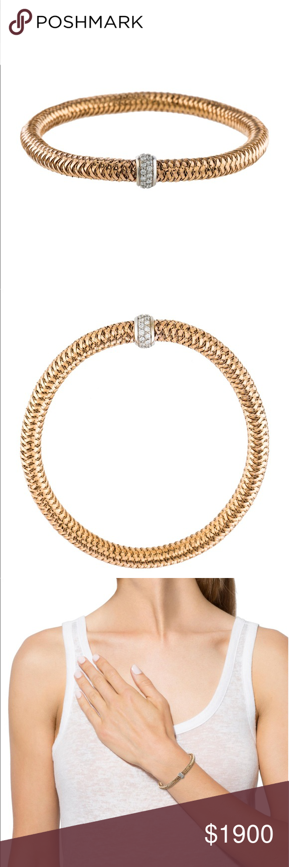Roberto coin diamond bracelet k gold stretchy diamond bracelet