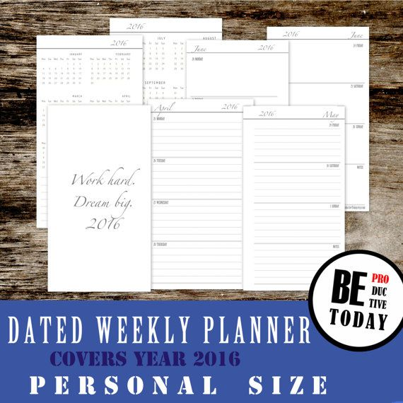 PERSONAL Inserts: Weekly Planner,  Dated Weekly Planner 2016, Week on Two Pages 2016, Filofax, Personal Inserts, Kikki K, Instant Download