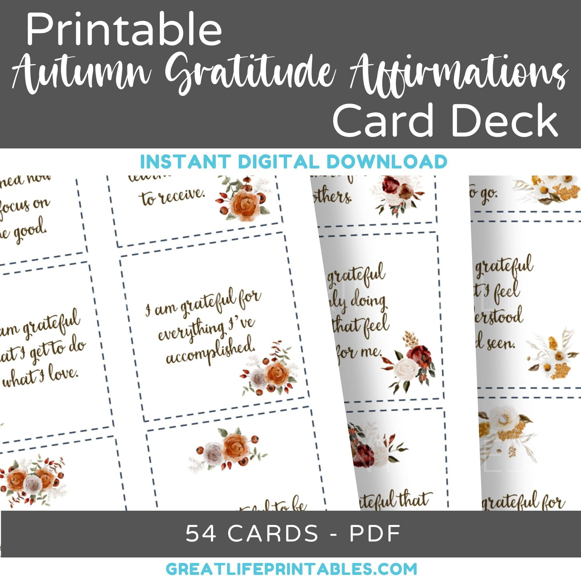 Printable Gratitude Card Deck, Gratitude Affirmations, Autumn, Thanksgiving, Affirmation Card Deck, Appreciation, Instant Download, PDF