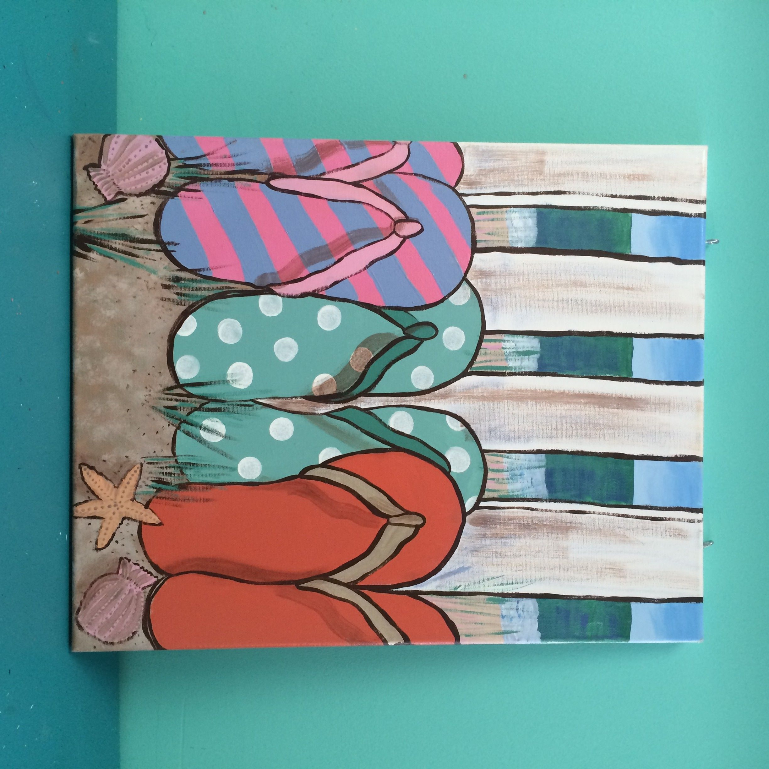 flip flop paintings on canvas - Google Search   Canvas Painting ...
