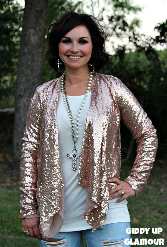 a3aed9fc948c3 It s All About That Sparkle Rose Gold Sequin Jacket www.gugonline.com  54.95