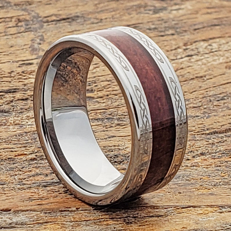 Men Tungsten Wood Ring, Wood Engagement Band, Celtic