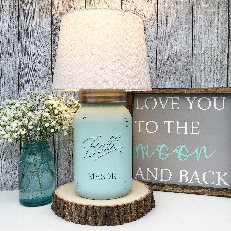 Mason Jar Home Decor Hand Painted Gallon Mason Jar Lamp Seafoam Lamp Mason Jar
