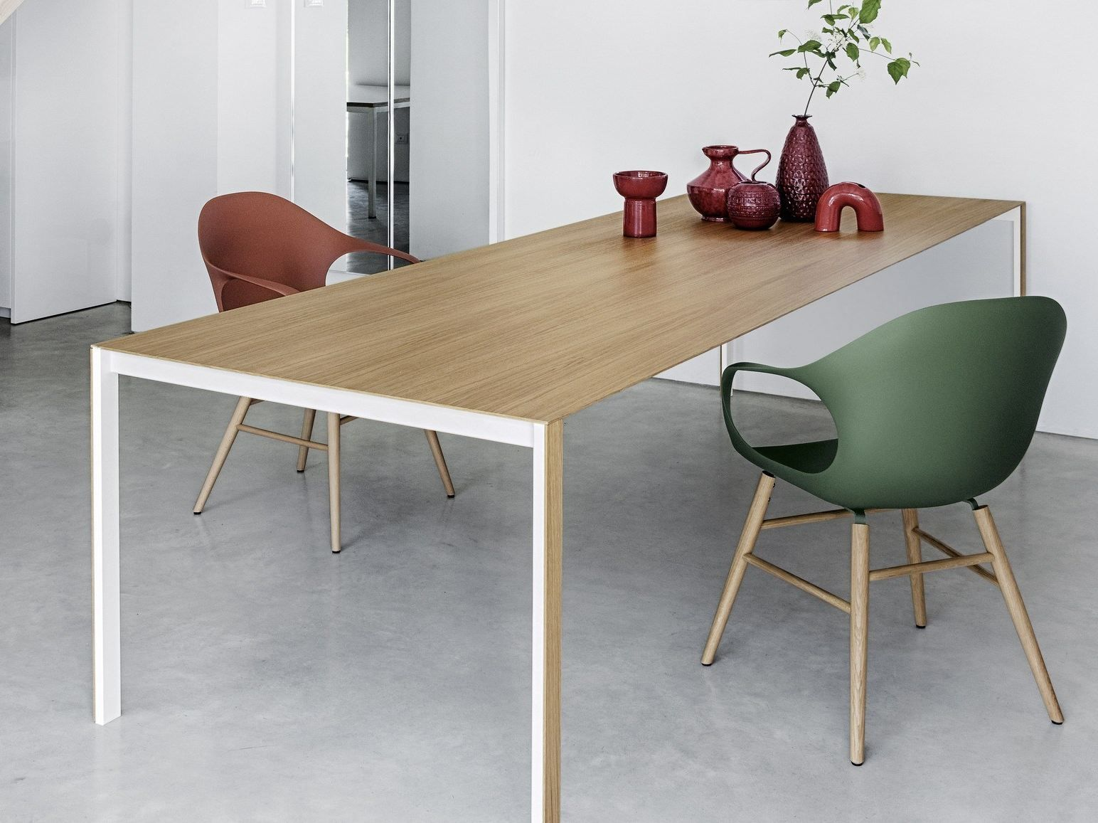 Rectangular wooden table thin k wood by kristalia design luciano