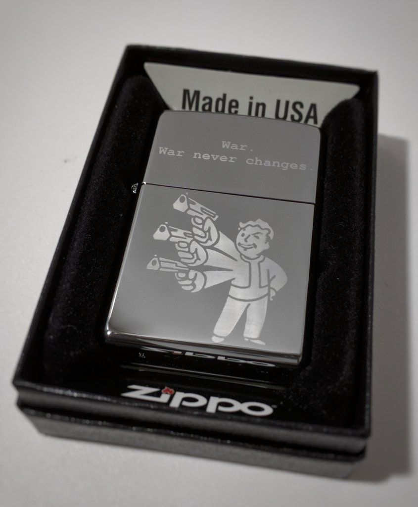 Fallout Vault Boy Wired Reflexes Classic Chrome Zippo Lighter Zippo Lighter Zippo Chrome Zippo