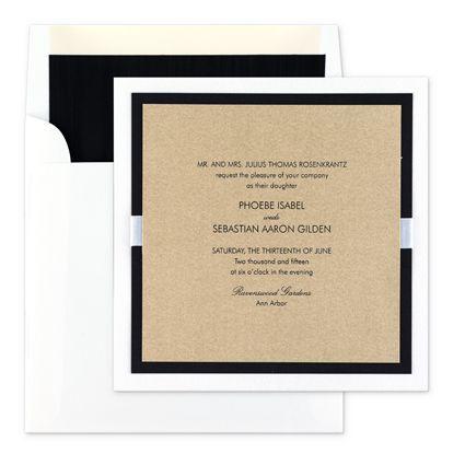 gold black white wedding invitation - formal style ribbon band - formal invitation style
