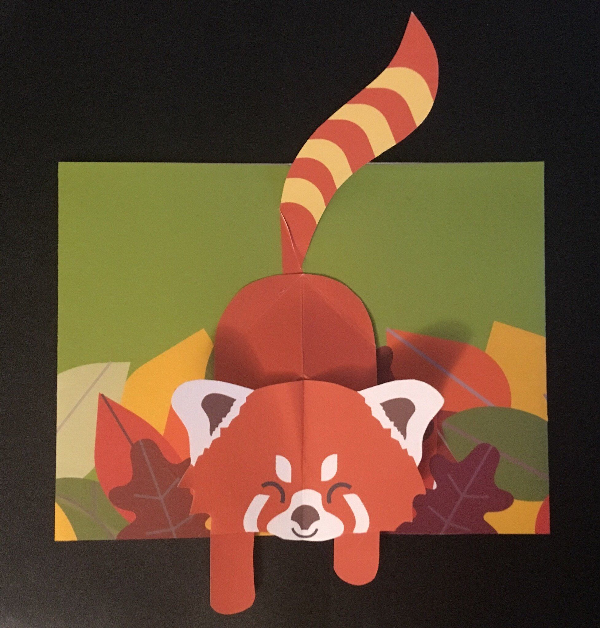 Pop Up 3d Red Panda Greeting Card Mother S Day Card Etsy Panda Card Pop Up Art Pop Up Cards