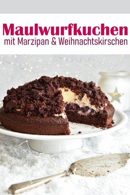 Maulwurfkuchen. Mit Marzipan und Weihnachtskirschen. #veganermaulwurfkuchen