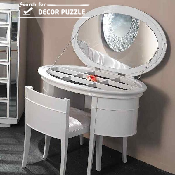 Delightful Luxury Modern White Dressing Table Designs With Mirror And Lighting