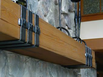 Wrought Iron Mantle Straps In 2019 Wood Beams Beams