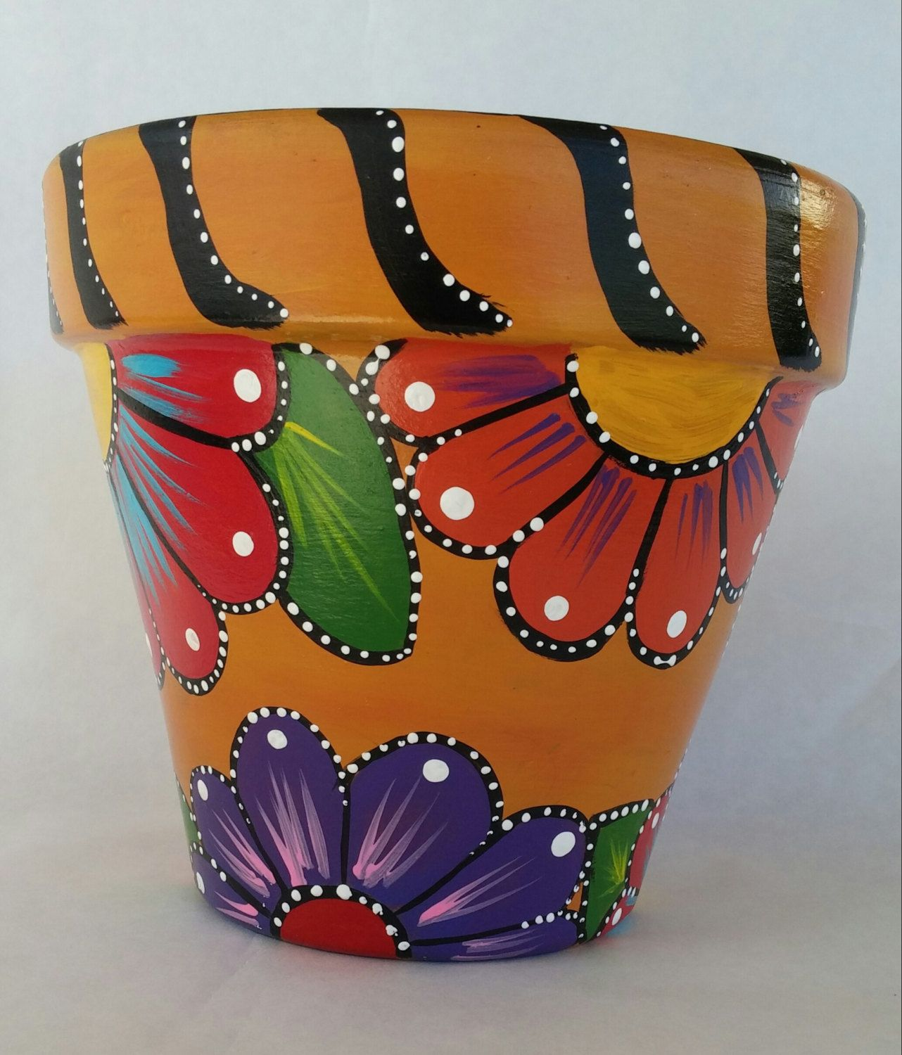 Painted clay pot, hand painted flowerpot, patio decor