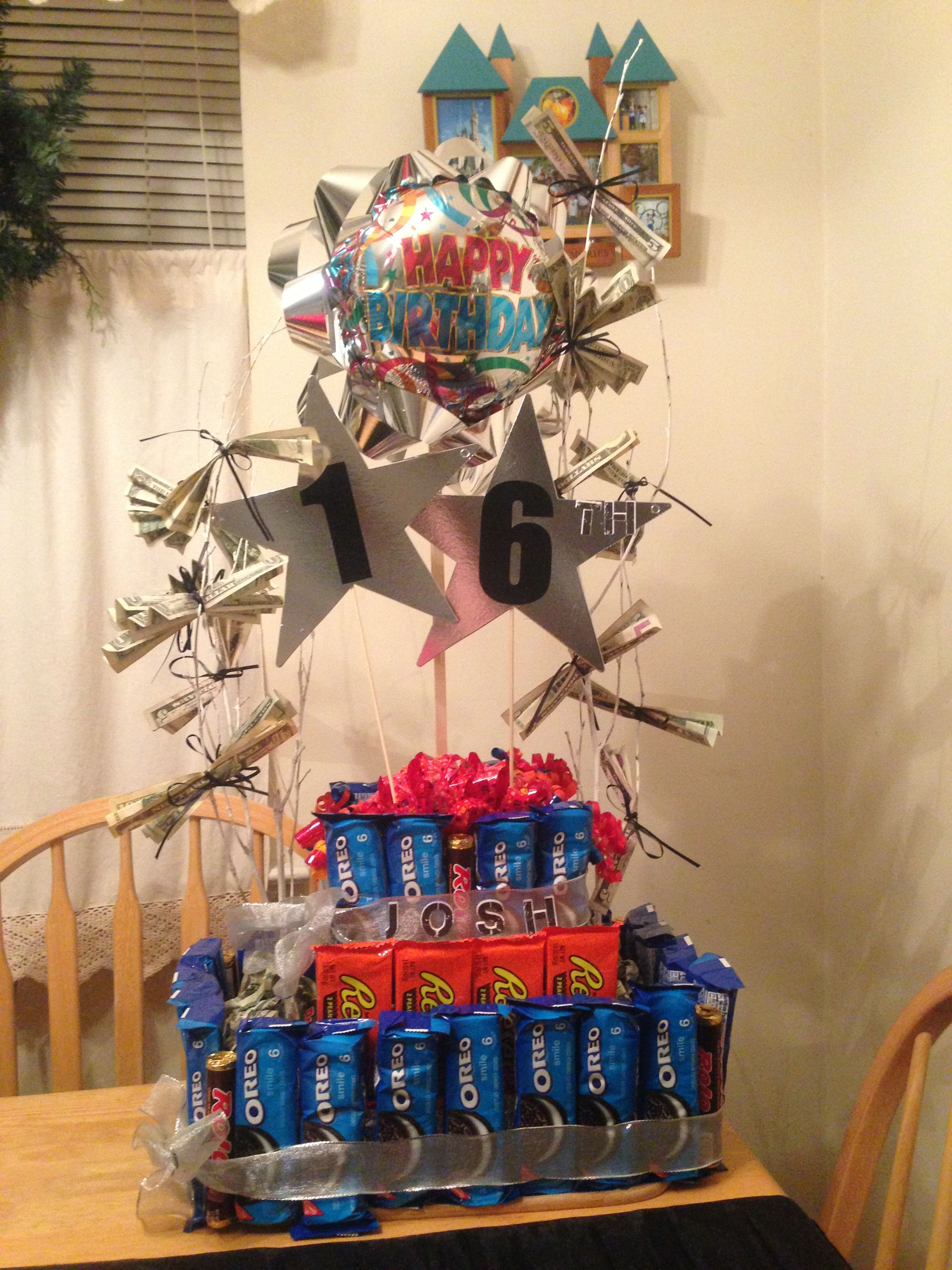 16 year old boy candy cake and money tree 18th birthday