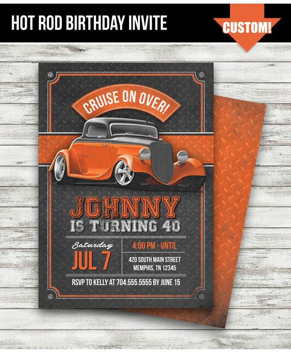 Hot Rod Birthday Party Invitation Vintage Car Orange Black Classic Muscl