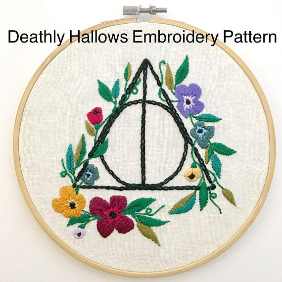 Deathly Hallows Embroidery Pattern Harry Potter Art Embroidery Patterns Embroidery Patterns Vintage Embroidery Hoop Art