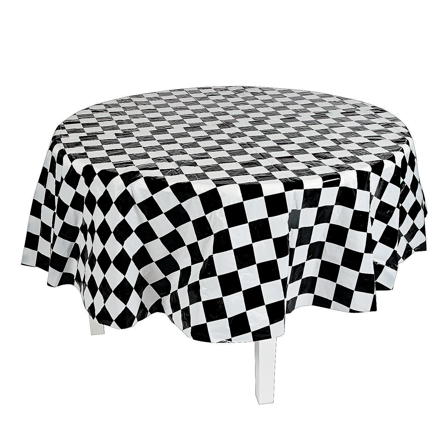 Black White Checkered Round Plastic Tablecloth Orientaltrading