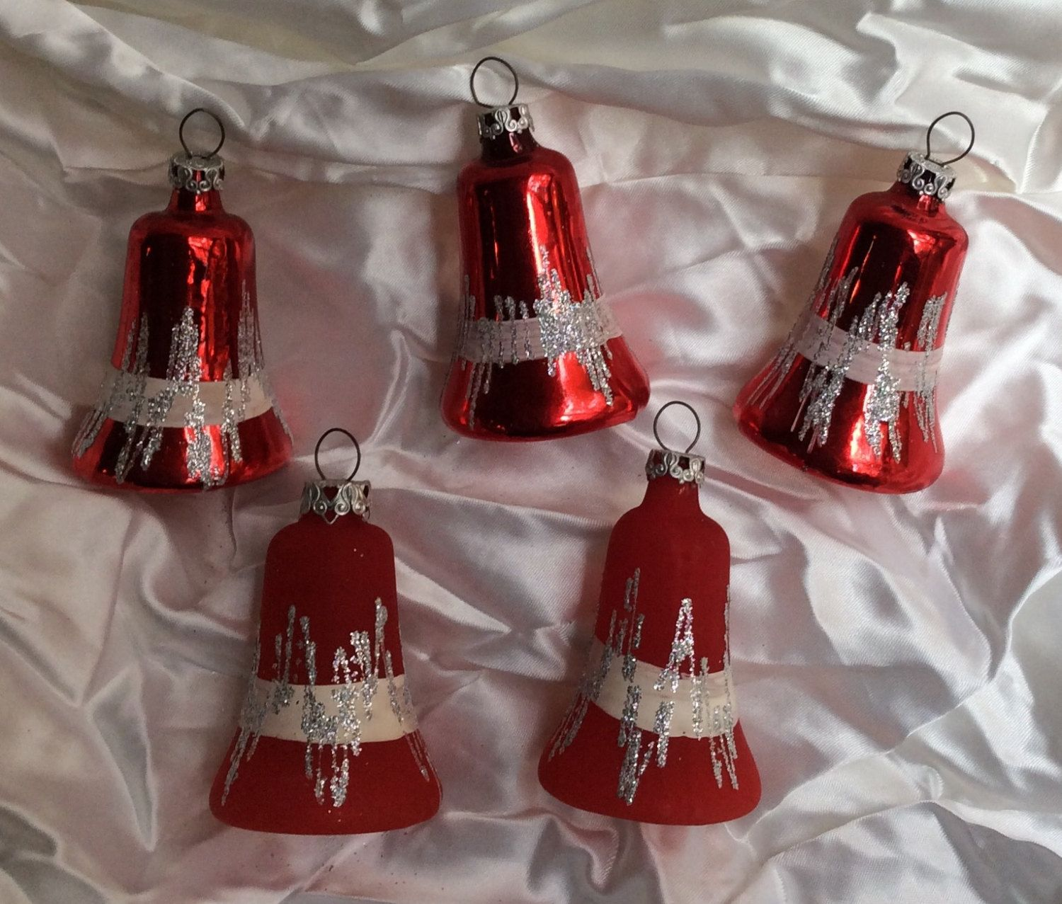 Red glass christmas ornaments - Vintage West German Red Glass Bell Christmas Ornaments Bavarian Christmas Tree Decorations
