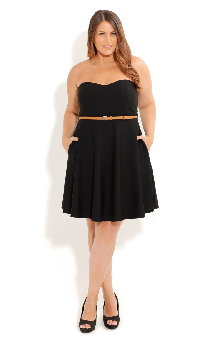 city chic simple black dress with tan belt (plus size dress) | My ...