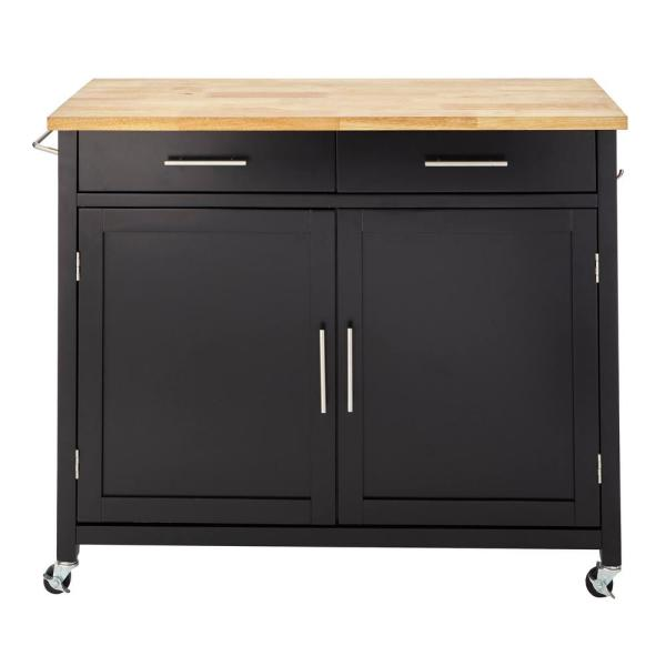 Stylewell Glenville Black Rolling Kitchen Cart With Butcher Block Sk17787cr2 Ebb The Home Depot White Kitchen Cart Kitchen Cart Black Kitchens
