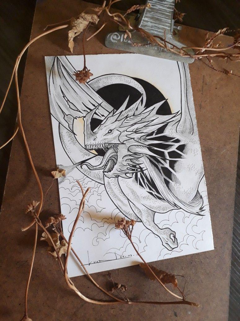 My draw. Dragon flying. Burning people. dragon Drachen