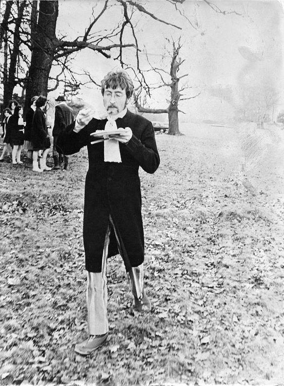 John on the set of the Strawberry Fields promo film. Sgt Pepper, 1967