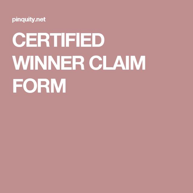Certified Winner Claim Form  Final
