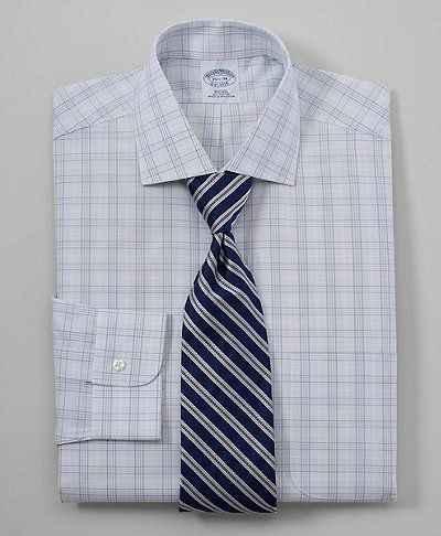 $44 Grey Color All Cotton Non-Iron Fit Framed Glen Plaid Dress Shirt - on sale -16.5, 34