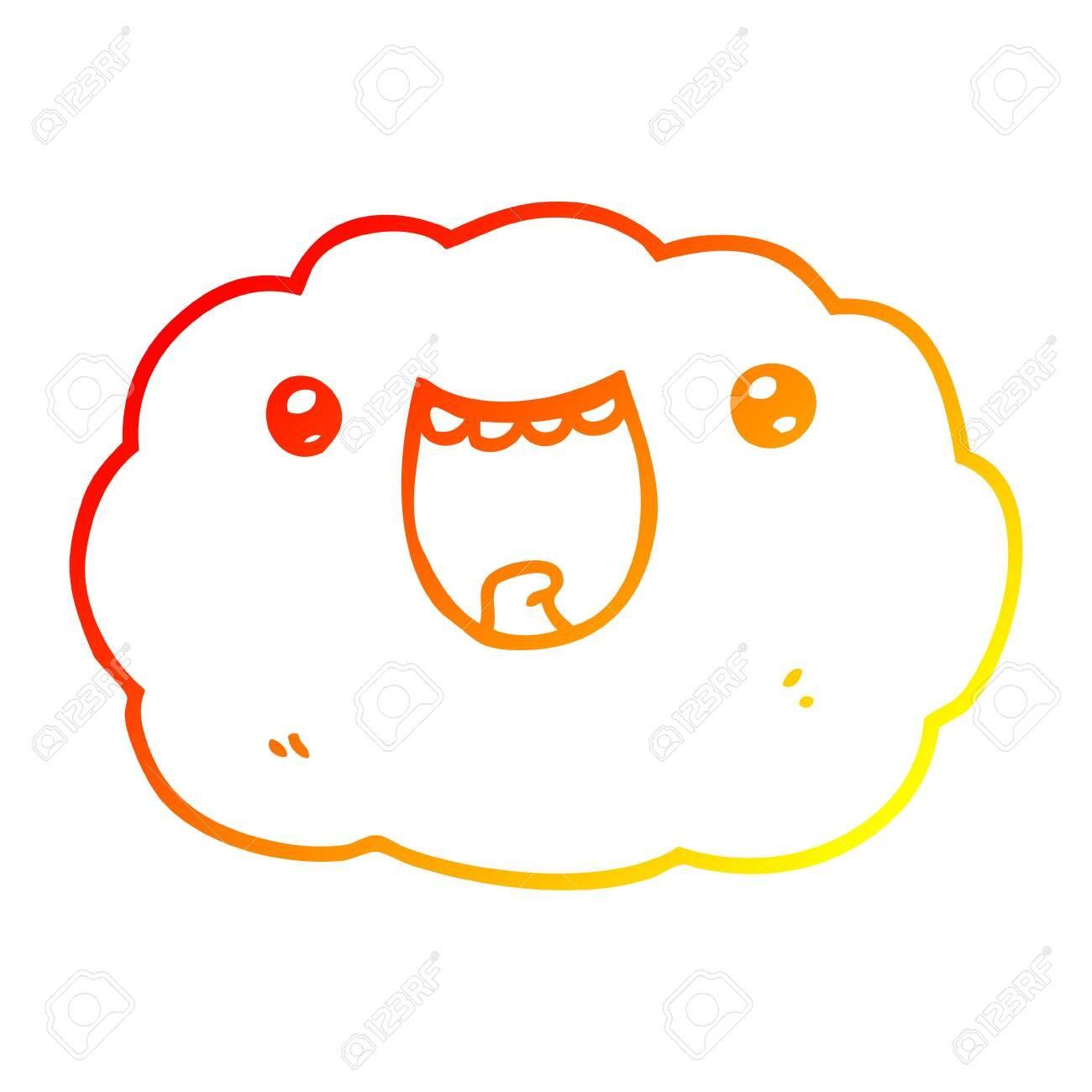 warm gradient line drawing of a cartoon happy cloud ,