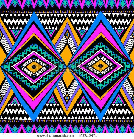 Neon Color Tribal Navajo Vector Seamless Pattern With Doodle Elements Aztec Abstract Geometric A Geometric Art Prints Abstract Geometric Art Print Pattern Art
