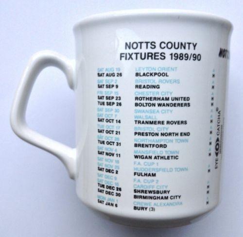 Notts-County-Collectible-Mug-1989-1990-Fixtures-Ceramic-Football-Cup