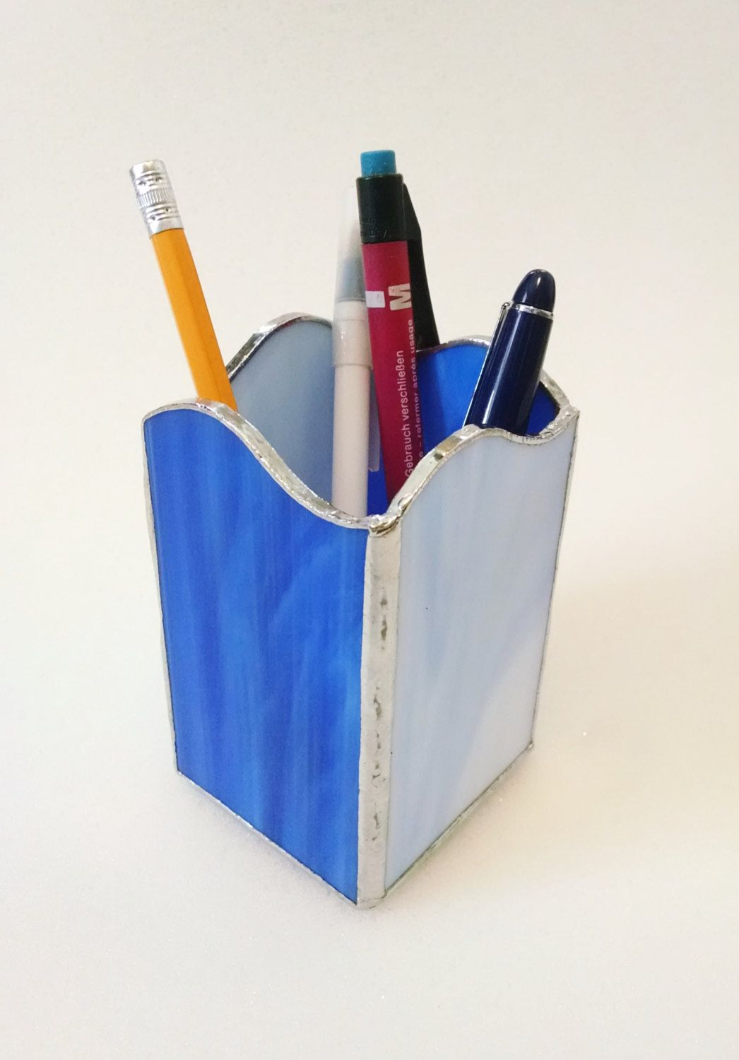 office pen holder. Pencil Holder - Pen Stained Glass Blue Swirl Wave Desk Accessory Office