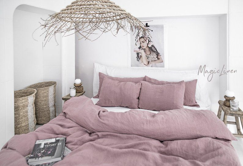 Linen Bedding Set In Woodrose Dusty Pink King Queen Washed Etsy Bed Linens Luxury Lightweight Bedding Linen Duvet Covers