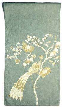 Holiday Peacock Linen Table Runner in Sage - tablecloths - burlington - Cricket Radio