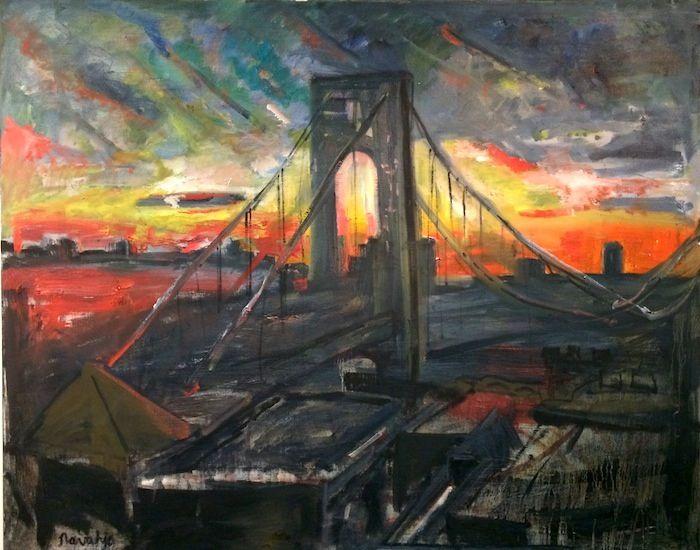 Price 3 500 Navahjo Stoller Oil Paintings Hudson Heights George Washington Bridge Piantings Gwb Bridge