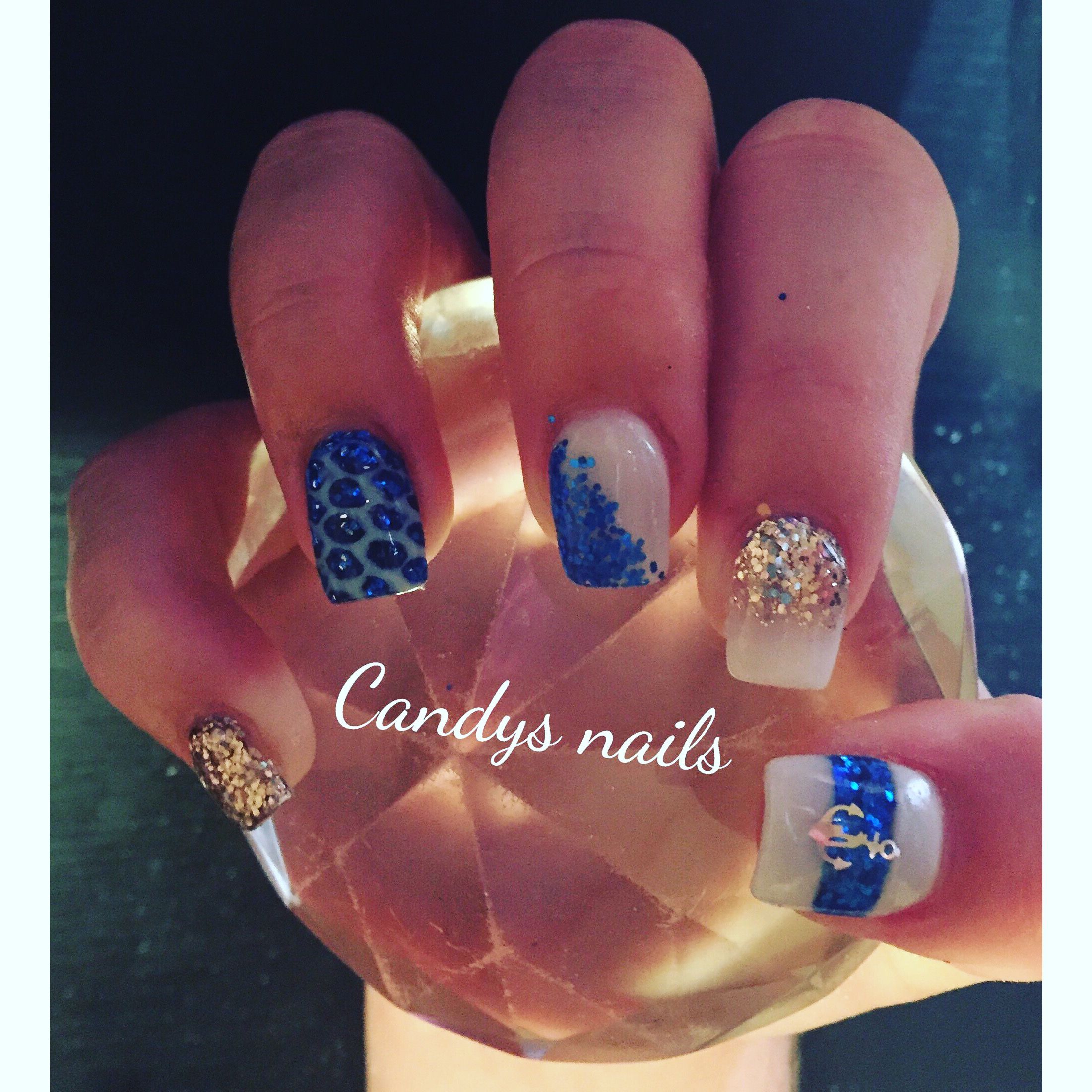 Mermaid acrylic nails with a anchor! | Candys Nails | Pinterest