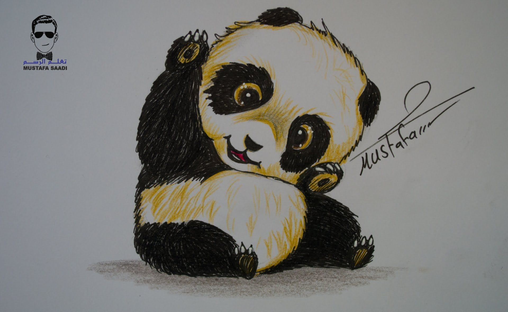 تعليم رسم دب الباندا بالرصاص والالوان مع الخطوات للمبتدئين