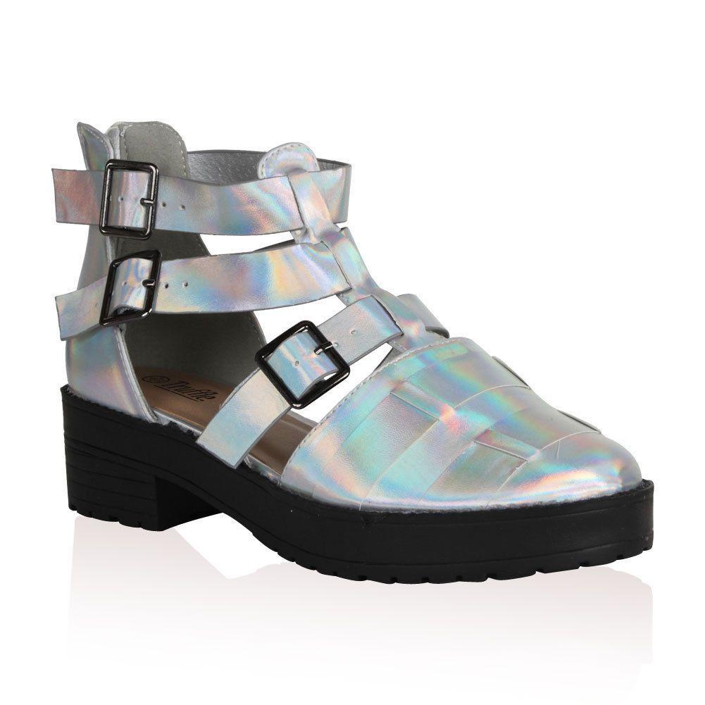 Stone Fox hologram gladiator sandals