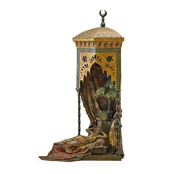 FRANZ BERGMAN (Austrian, 1838-1894).  Cold painted bronze lamp with a reclining woman being fanned by a servant; Stamped Nam Gre