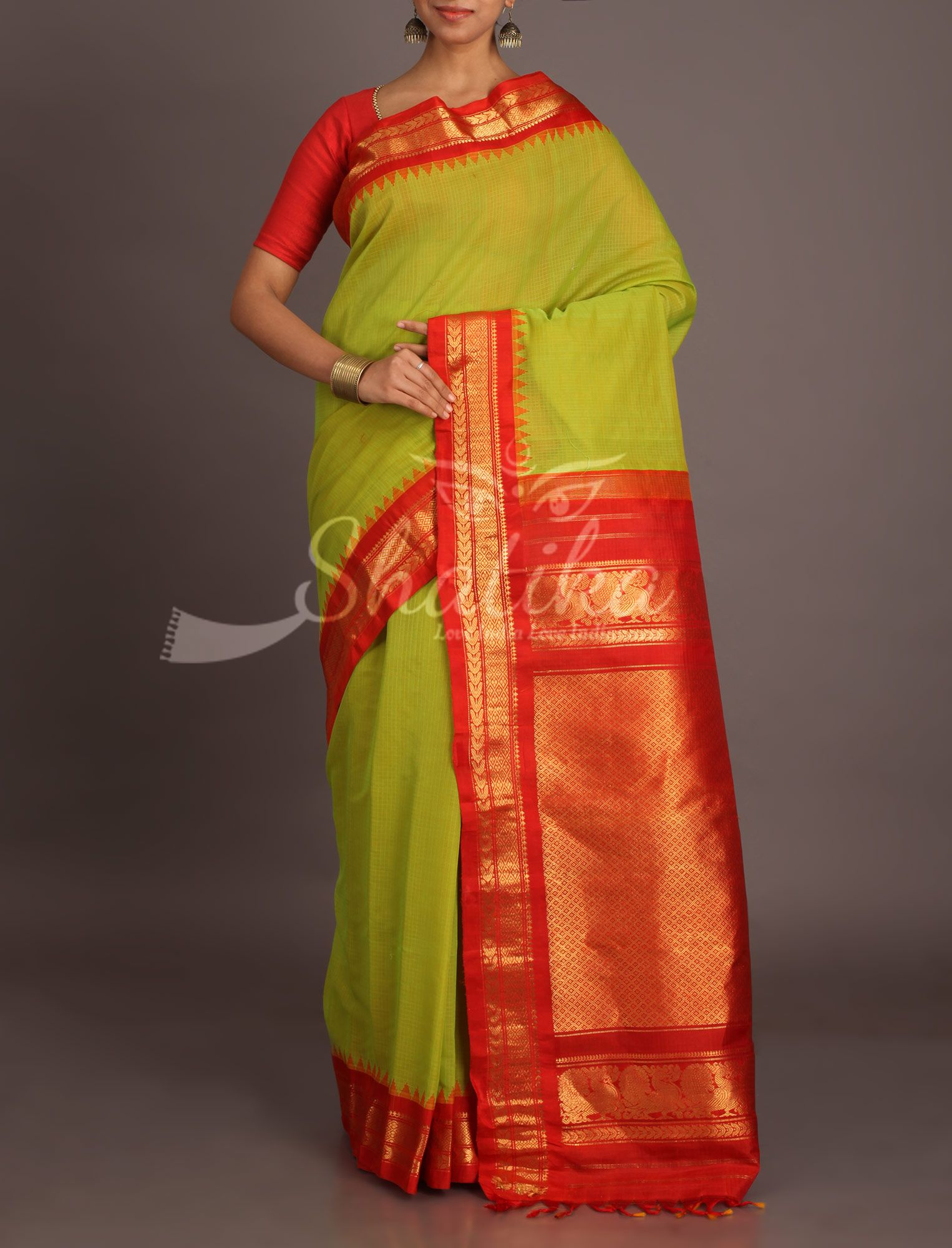 Pavitra Olive Green With Blood Red Gold Ornate Temple Bordered